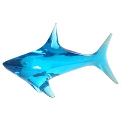 Giant Shark Sculpture in Blue Lucite