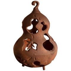 """Japan Unique Tea House """"Bird & Star"""" Garden Gourd Lantern, 100 Yrs Old"""