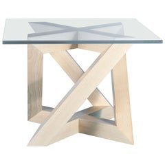"""RK"" Modern Wood Side Table with Big Square Crystal Extra White Glass Top"