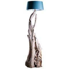 Tall Organic Modern Beach Driftwood Floor Lamp Custom Shade