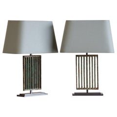 Pair Art Deco Period Vintage French Painted Iron Lamps, circa 1930 Custom Shades