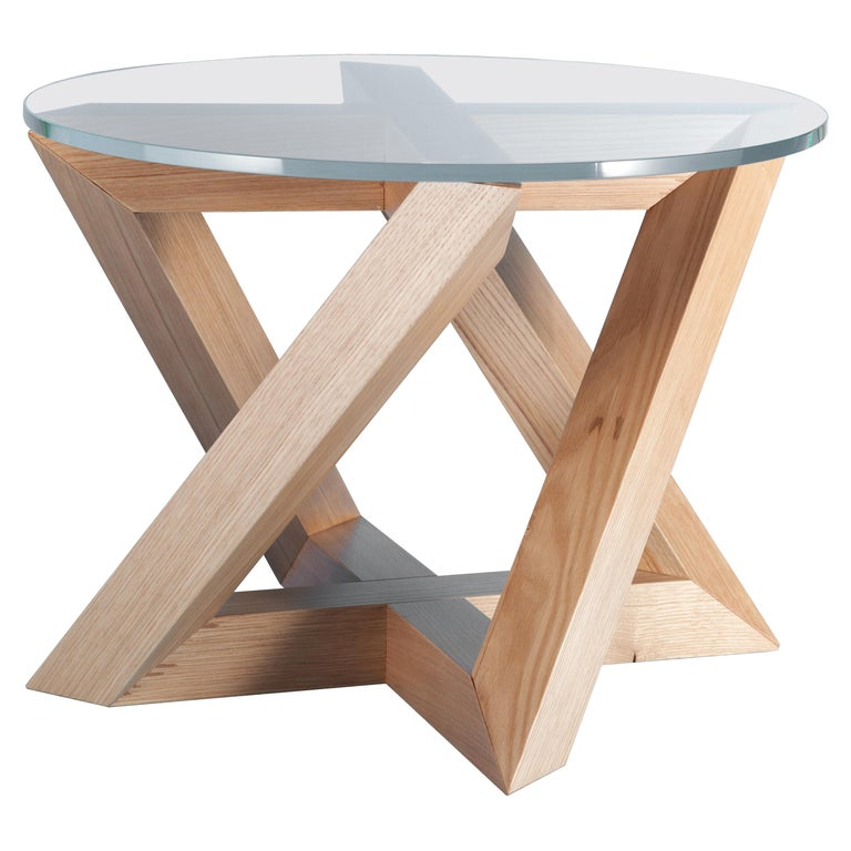 """RK"" Modern Wood Side Table with Circle Crystal Extra White Glass Top For Sale"