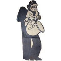 Black Saxophone Player Advertising Board, circa 1930