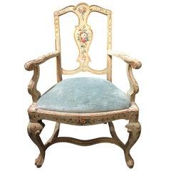 19th Century Venetian Hand Painted Armchair