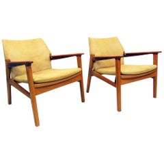 Two Danish 1960s Lounge Chairs by Hans Olsen in Teak, Oak and Suede