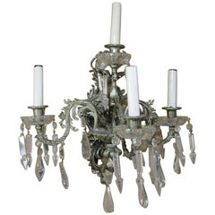 19th Century Nickel-Plated Bronze Rococo Dragon Wall Sconce Set of Four