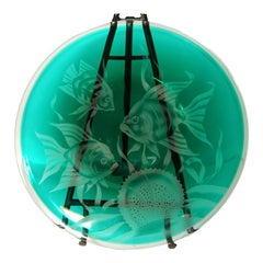 Correia Art Glass Large Hand Etched Decorative Plate, Signed