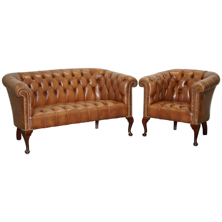 Handmade in England Chesterfield Brown Leather Tub Armchair & 2 Small Seat Sofa For Sale