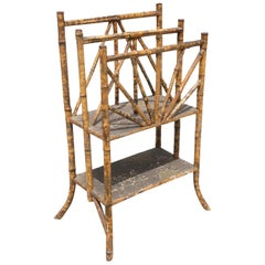 Restored Antique Tiger Bamboo Magazine Rack with Divider and Bottom Shelf