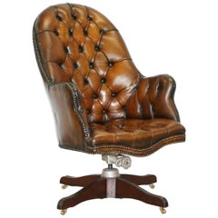 Original 1920 Hillcrest Fully Restored Brown Leather Chesterfield Captains Chair