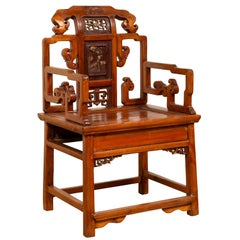 Antique Chinese Hand Carved Chair with Natural Wood Patina, Red and Gold Accents