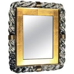 20th Century Treccia Murano Glass Mirror in the Manner of Seguso
