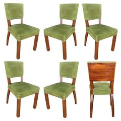 French Art Deco Walnut Dining Chair, Set of Six