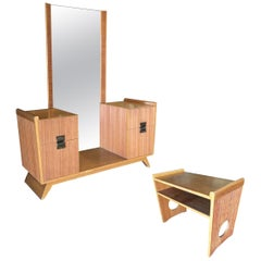 Paul Frankl Combed Wood Vanity with Stool for Brown Saltman