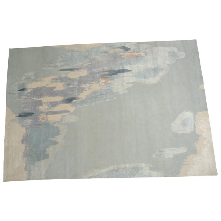 Fog, Hand Knotted with New Zealand Wool and Silk Area Rug by Thirty Six Knots For Sale