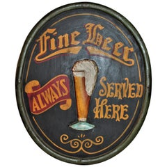 20th Century Original Hand Painted Beer Sign