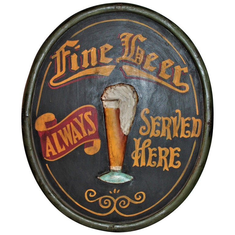 20th Century Original Hand Painted Beer Sign For Sale