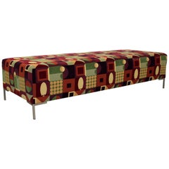 Contemporary Modern Aluminum Long Bench Seat Graphic Pattern, 1980s