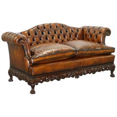 Victorian Restored Chesterfield Hand Dyed Brown Leather Sofa Lion Hairy Paw Feet