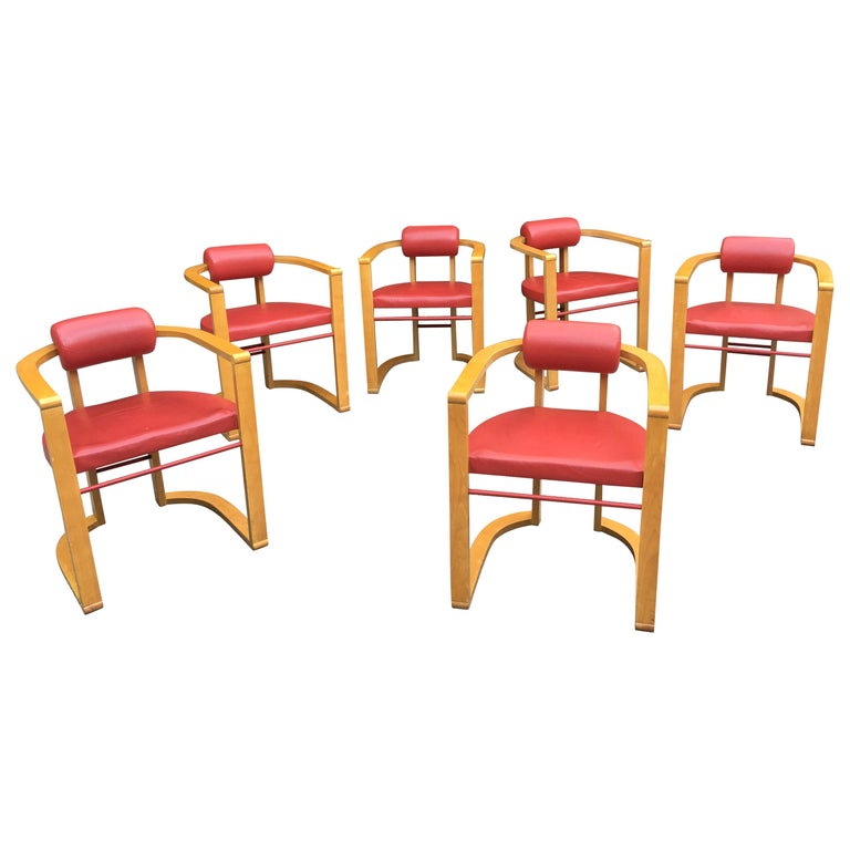 George Kasparian Set of 6 Dining Chairs in Red Leather For Sale