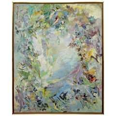 Mid-Century Modern Large Framed Textured Abstract Painting by Albert Mullen 1958