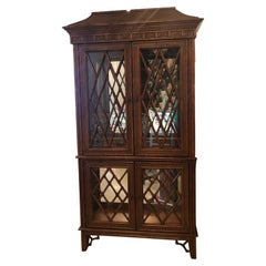 Vintage Chinese Chippendale Rattan Bamboo Pagoda Greek Key Display Cabinet