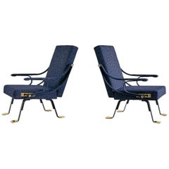 Pair of Ignazio Gardella Digamma Armchairs in Navy Raf Simons for Kvadrat Fabric