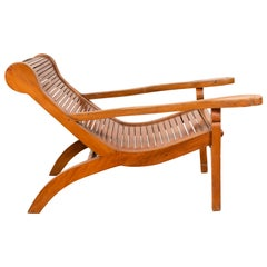Dutch Colonial Indonesian Plantation Lounge Chair with Curving Seat and Slats