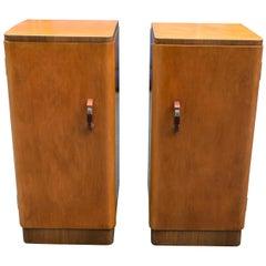 Original Pair of 1930s Art Deco Blonde Bedside Cabinets