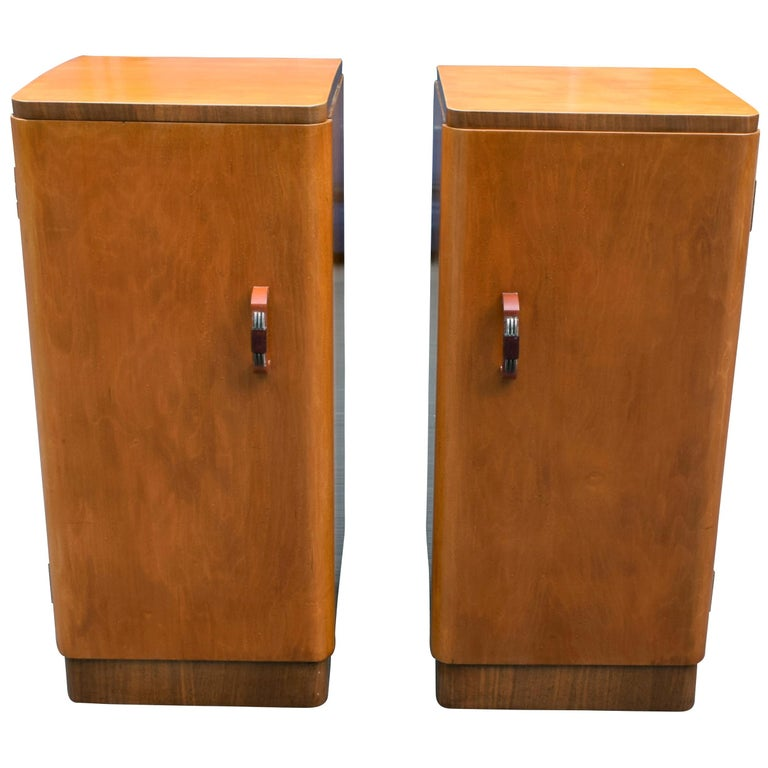 Original Pair of 1930s Art Deco Blonde Bedside Cabinets For Sale