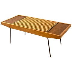American Mid-Century Modern Slat Coffee Table or Bench