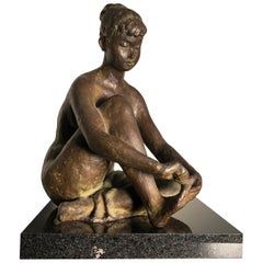 Japan Important Hand Cast Bronze Young Nude Woman by Yano Signed Boxed