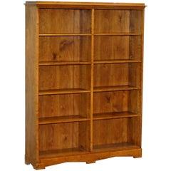 Lovely circa 1900 Edwardian Walnut & Oak Double Bank Library Bookcase 160cm Tall
