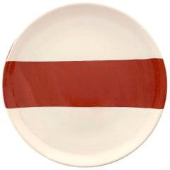 Handmade Ceramic Rectangle Dinner Plate in Terracotta and White, in Stock