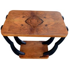 Two-Tiered Art Deco English Walnut Occasional Table, circa 1930s