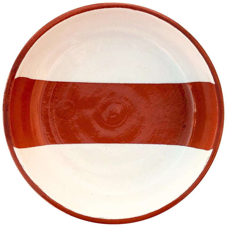 Handmade Ceramic Rectangle Bowl in Terracotta and White, in Stock For Sale