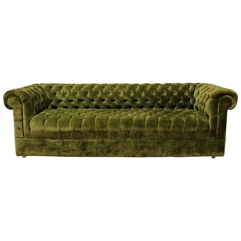 Mid Century Modern Green Tufted Chesterfield Sofa Dunbar Baughman Style For
