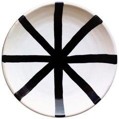 Handmade Ceramic Segment Platter with Graphic Black and White Design, in Stock