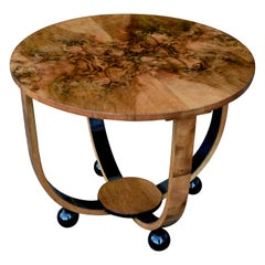 Art Deco Circular Walnut Occasional Table, circa 1930s