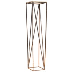 Iron Tall Plant Stand with Cast Stone Top