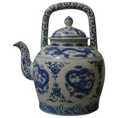 Large Blue and White Porcelain Tea Pot