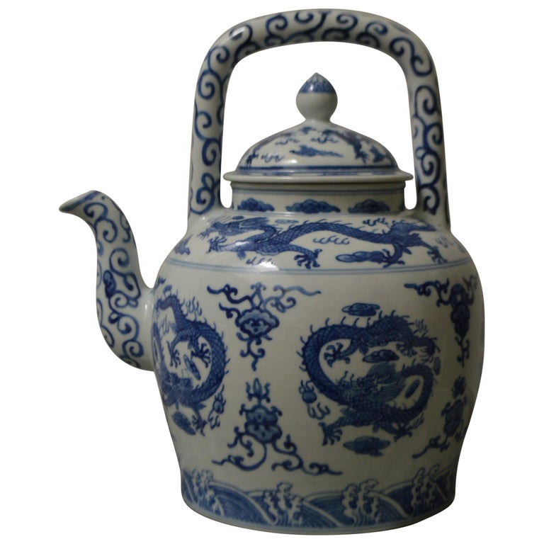 Large Blue and White Porcelain Tea Pot For Sale