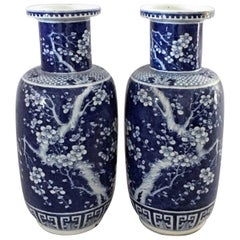 Chinese Pair of Blue and White Porcelain Rouleau Vases