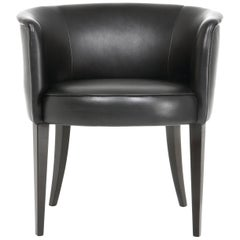 Round Upholstered Chair in Leather, Vica designed by Annabelle Selldorf