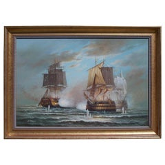 American Nautical Oil on Canvas Battling Ships at Sea, 20th Century, N. Thomas