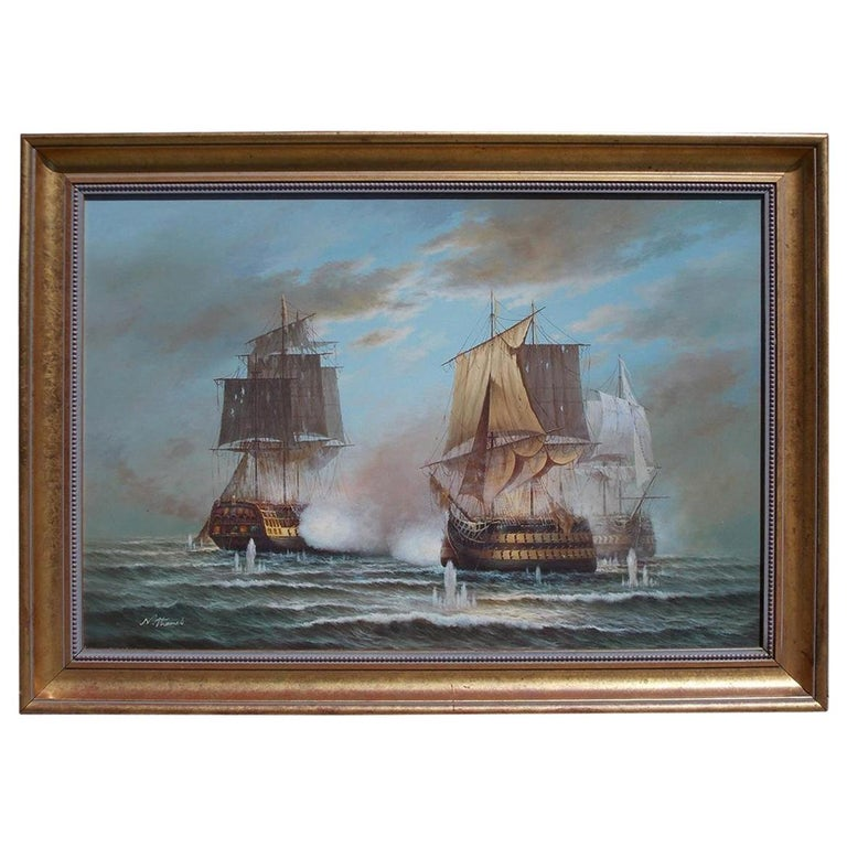 American Nautical Oil on Canvas Battling Ships at Sea, 20th Century, N. Thomas For Sale