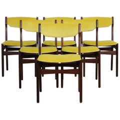 Set of 6 Vintage Dining Chairs Re-Upholstered in Yellow Velvet