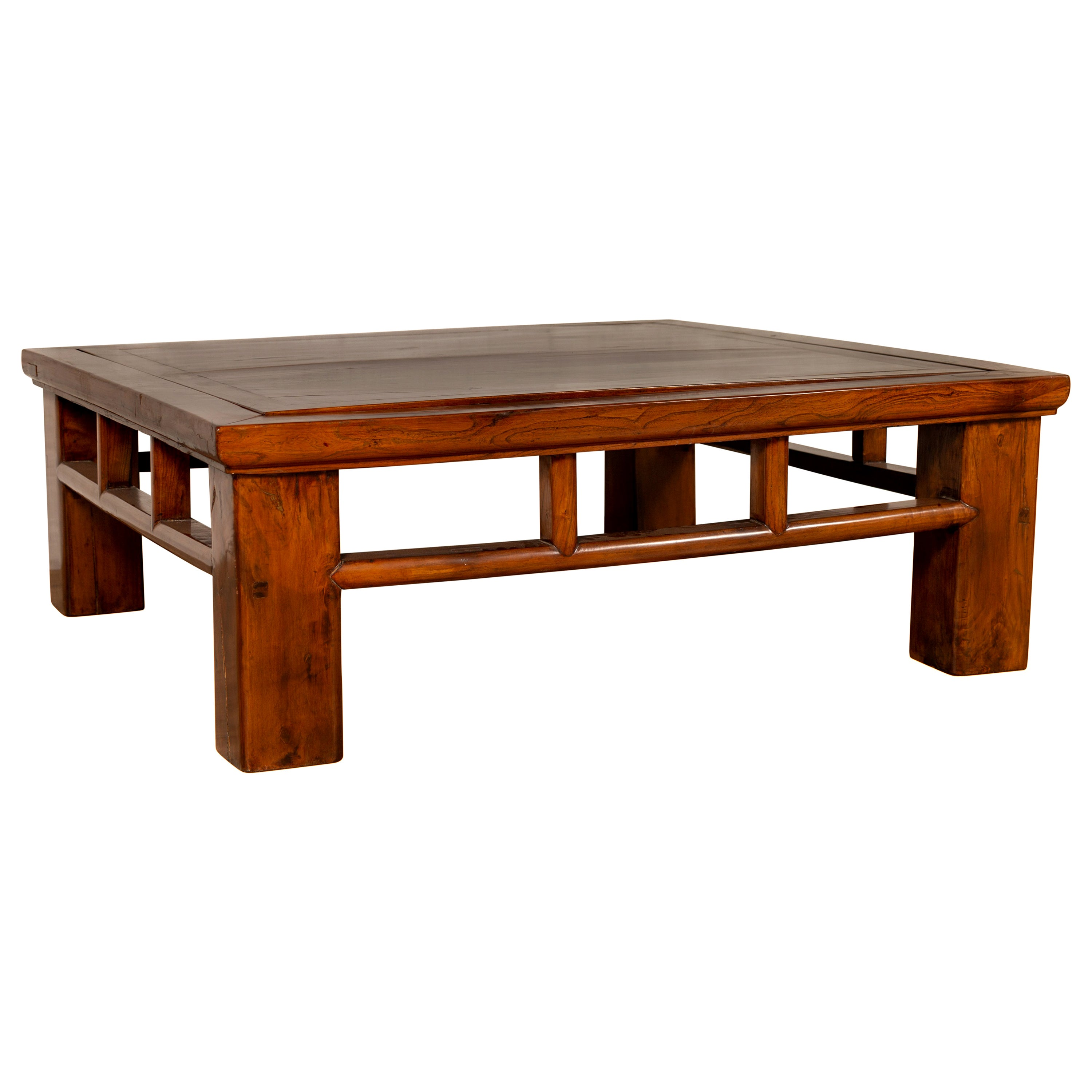 Chinese Qing Dynasty Style Elm Coffee Table with Reversible Top and Strut Motifs