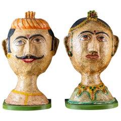 Pair of Papier Mâché Vintage Indian Male Female Figures Custom Brackets