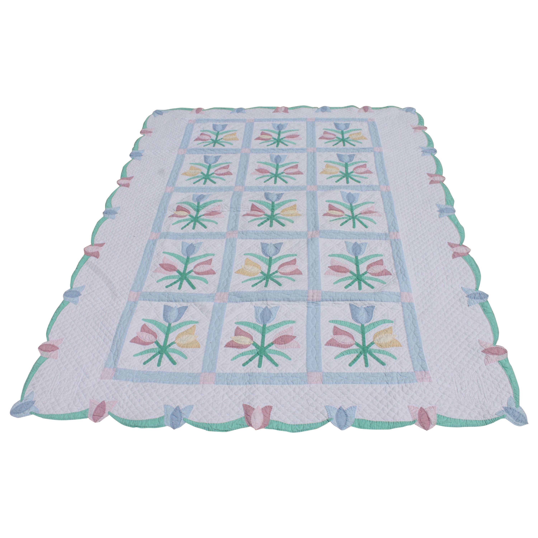 Antique Quilt 1940s Floral Pastel Quilt